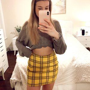 Guess yellow plaid mini skirt